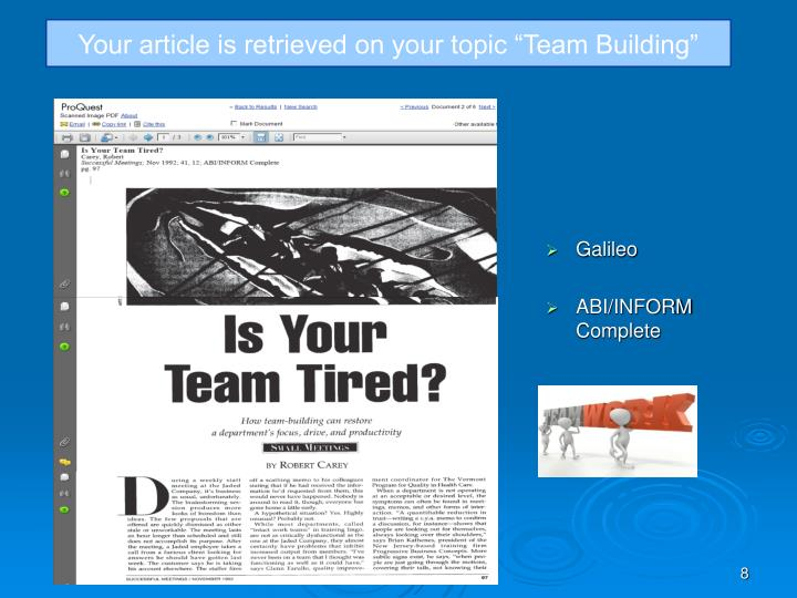 "Your article is retrieved on your topic ""Team Building"""
