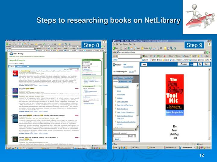 Steps to researching books on NetLibrary