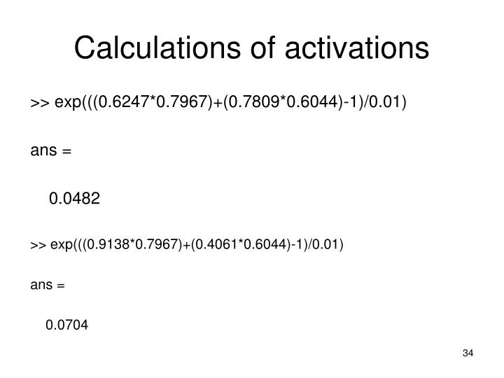 Calculations of activations