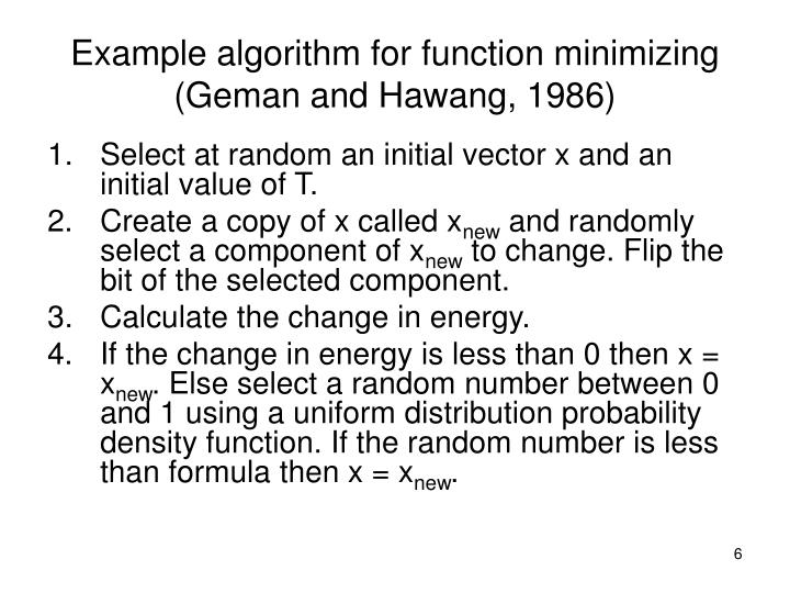 Example algorithm for function minimizing (Geman and Hawang, 1986)