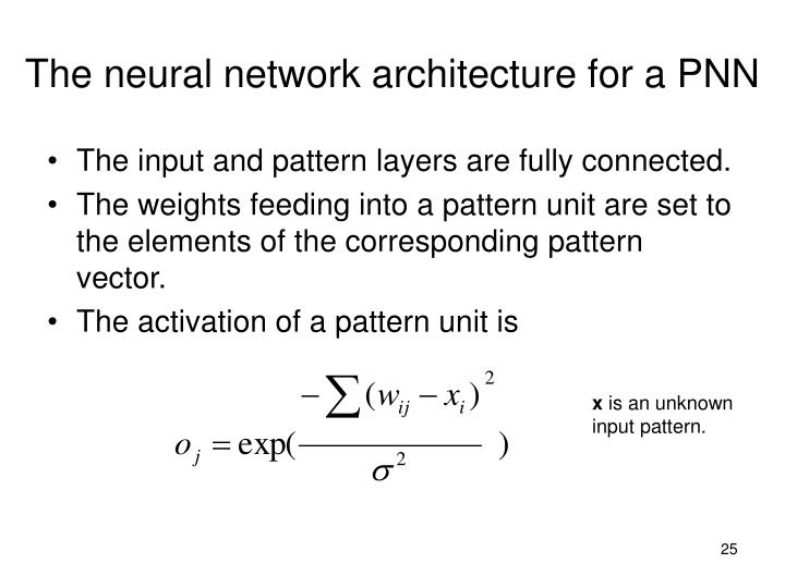 The neural network architecture for a PNN