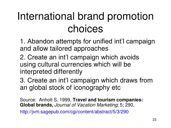 International brand promotion choices