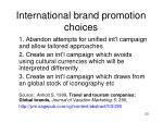 international brand promotion choices