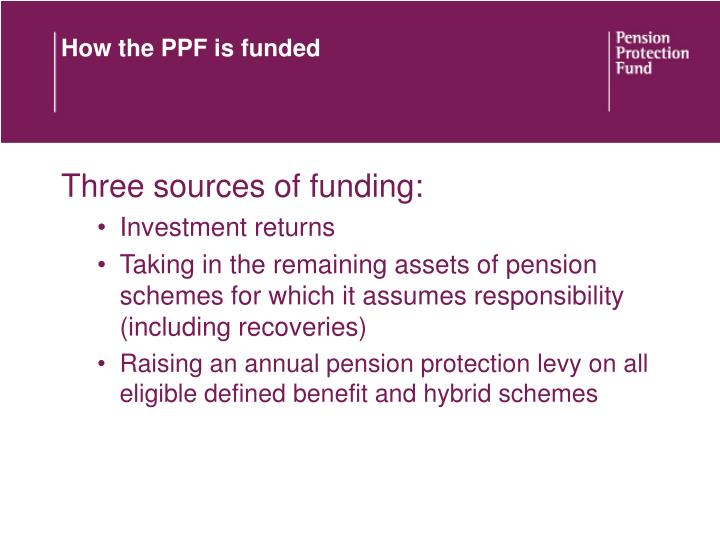 How the PPF is funded