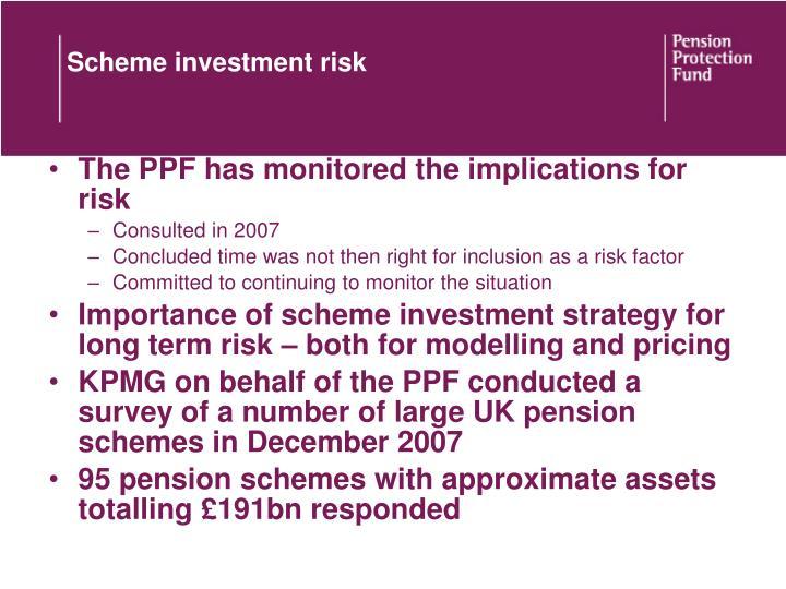 Scheme investment risk