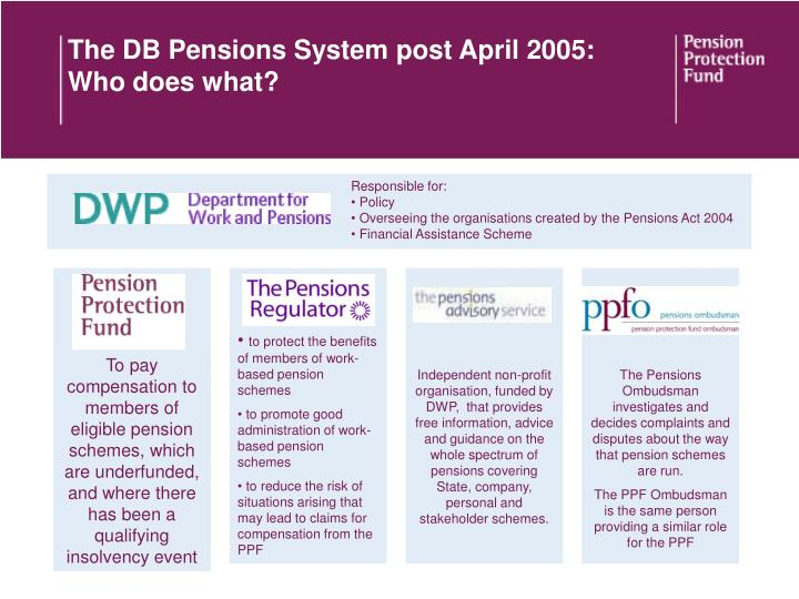 The DB Pensions System post April 2005: