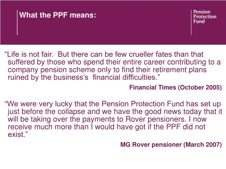 What the PPF means: