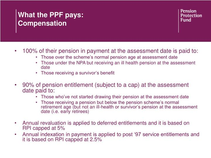What the PPF pays: