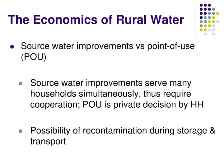 The Economics of Rural Water