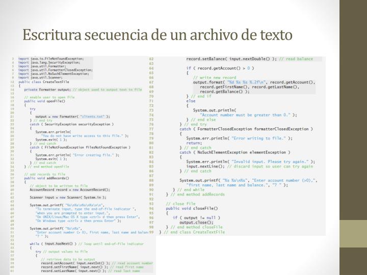 Escritura secuencia de un archivo de texto