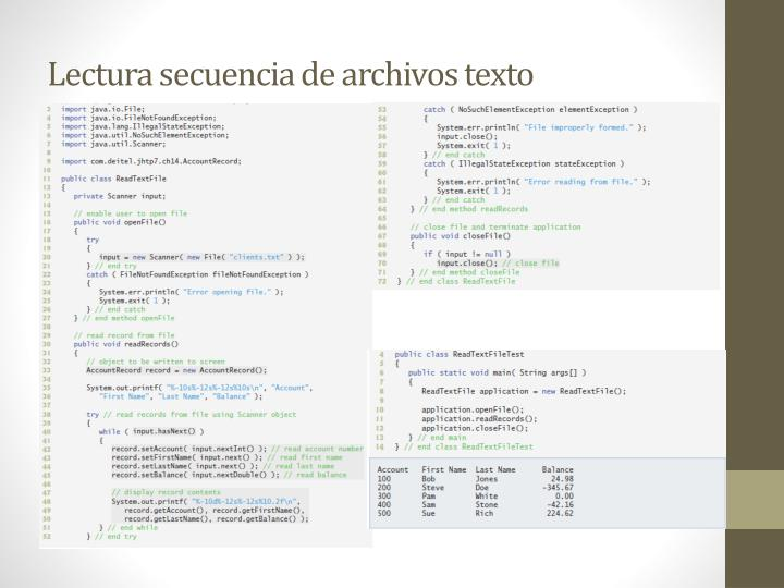 Lectura secuencia de archivos texto