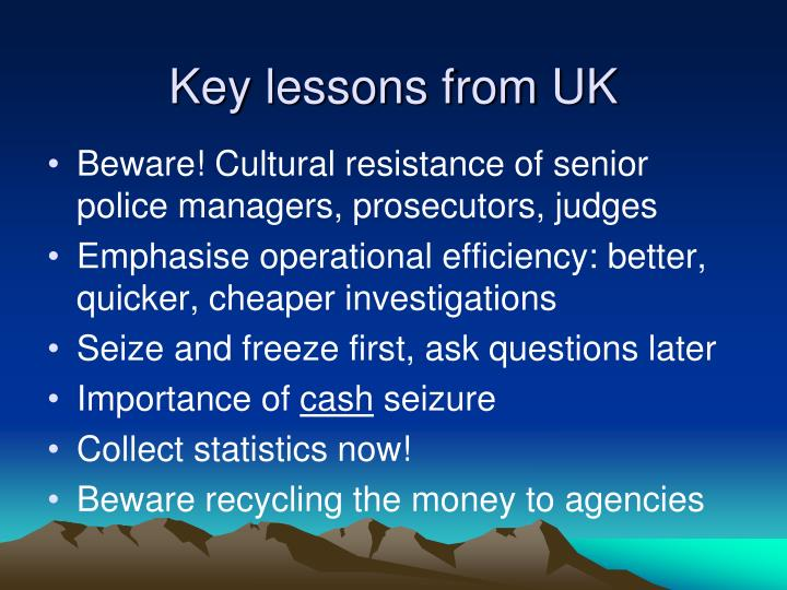 Key lessons from UK
