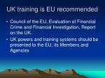 uk training is eu recommended