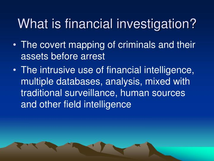 What is financial investigation?