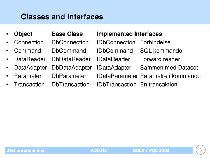 Classes and interfaces