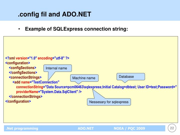 .config fil and ADO.NET