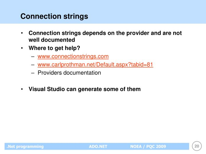 Connection strings