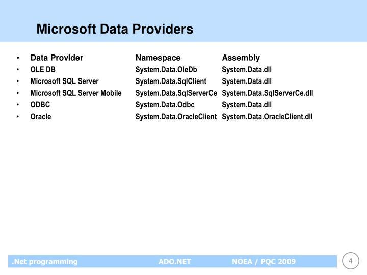 Microsoft Data Providers
