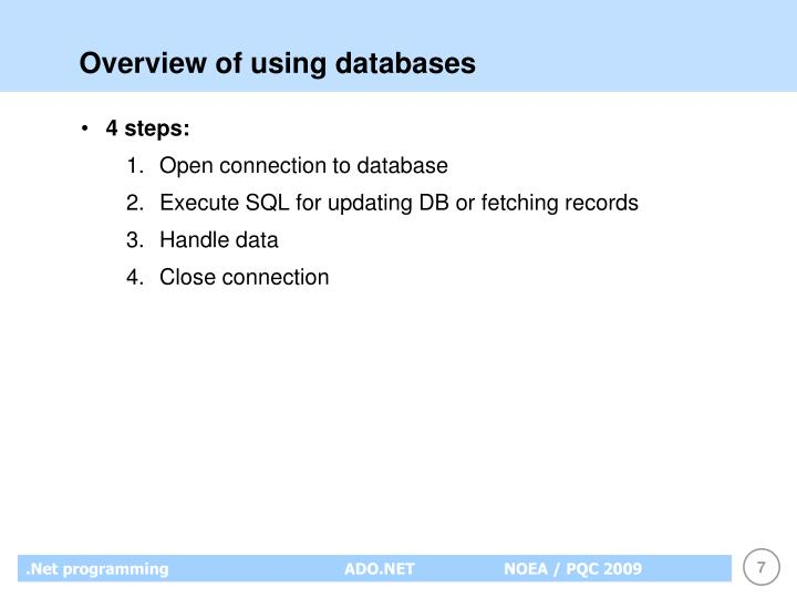 Overview of using databases