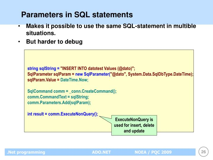 Parameters in SQL statements