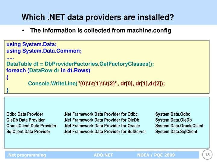 Which .NET data providers are installed?