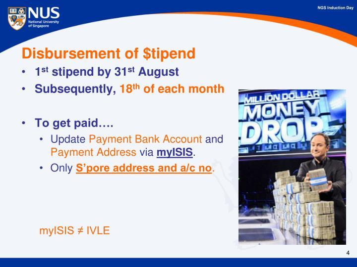 Disbursement of $tipend