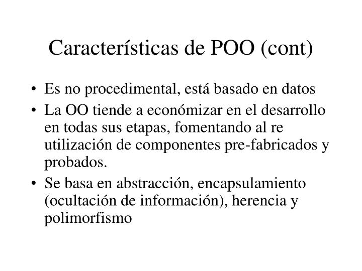 Características de POO (cont)