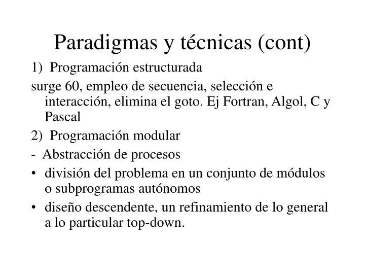 Paradigmas y técnicas