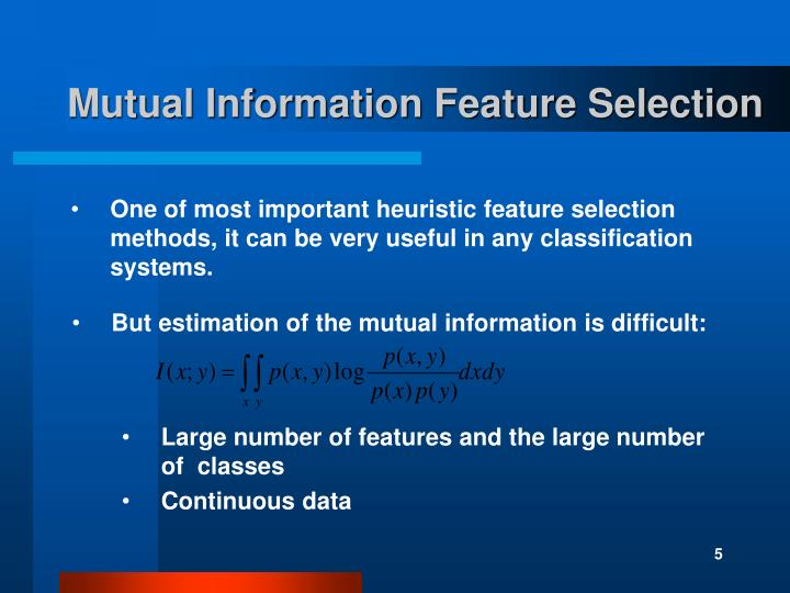 Mutual Information Feature Selection
