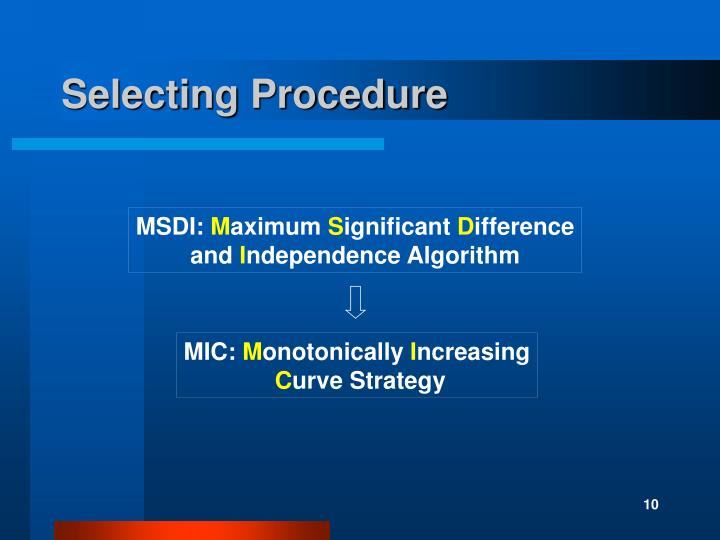 Selecting Procedure