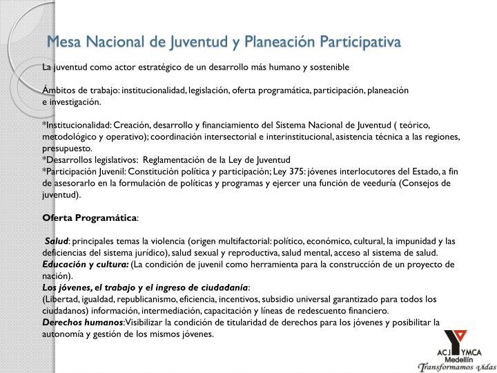 Mesa Nacional de Juventud y Planeación Participativa