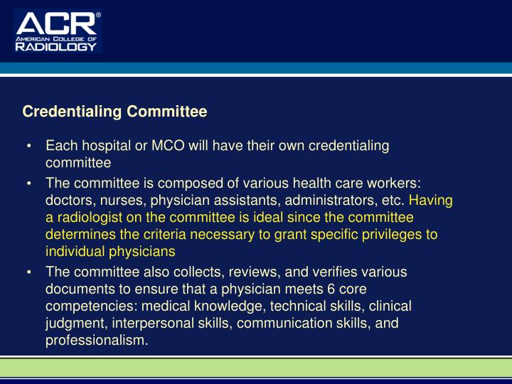 Credentialing Committee
