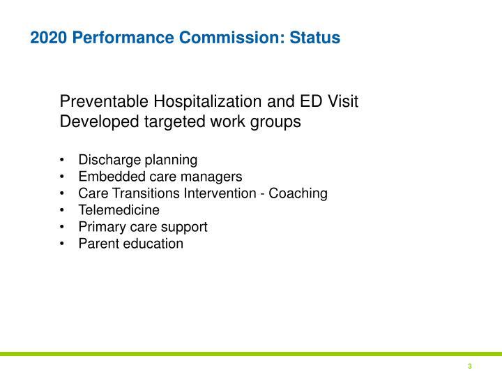 2020 Performance Commission: Status