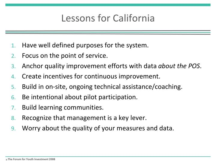Lessons for California