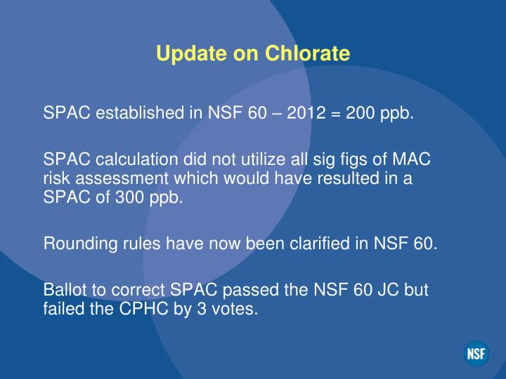 Update on chlorate