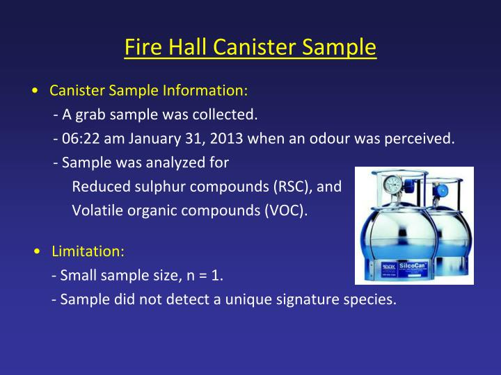 Fire Hall Canister Sample