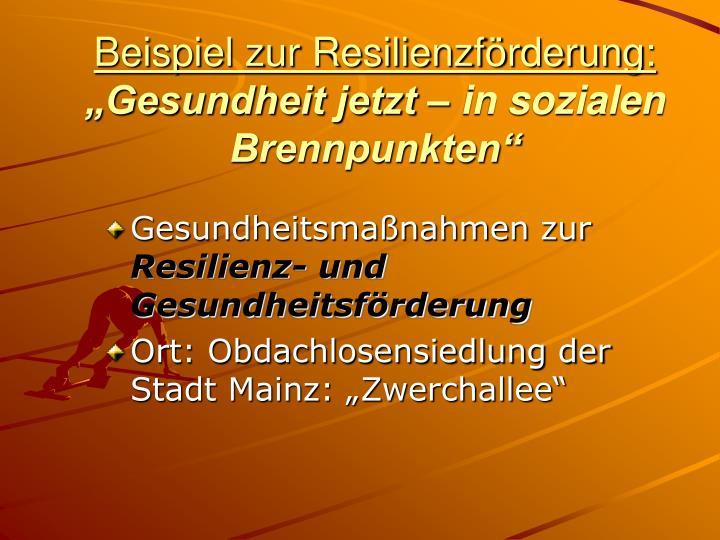 Beispiel zur Resilienzförderung: