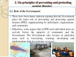 2 on principles of preventing and protecting against disaster