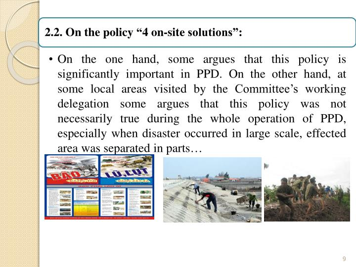 "2.2. On the policy ""4 on-site solutions"":"