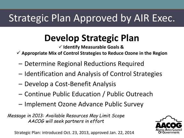 Strategic Plan Approved by AIR Exec.