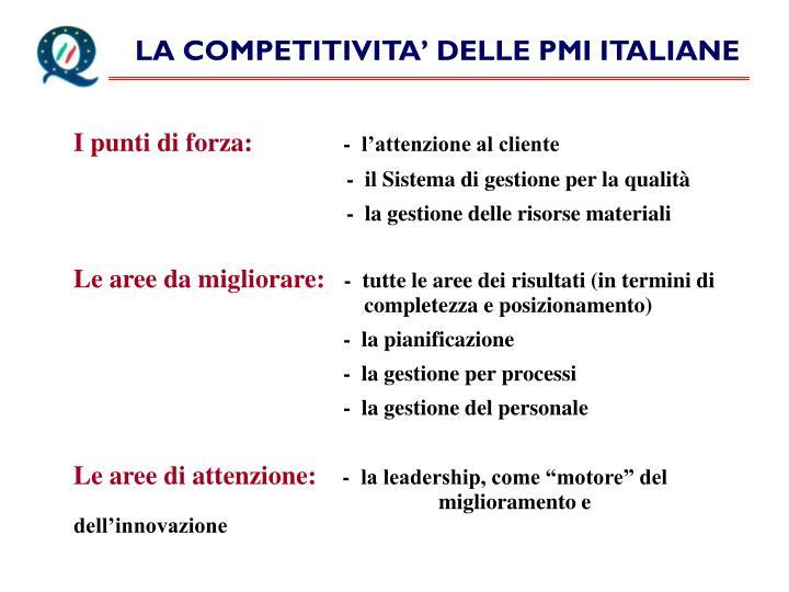 LA COMPETITIVITA' DELLE PMI ITALIANE