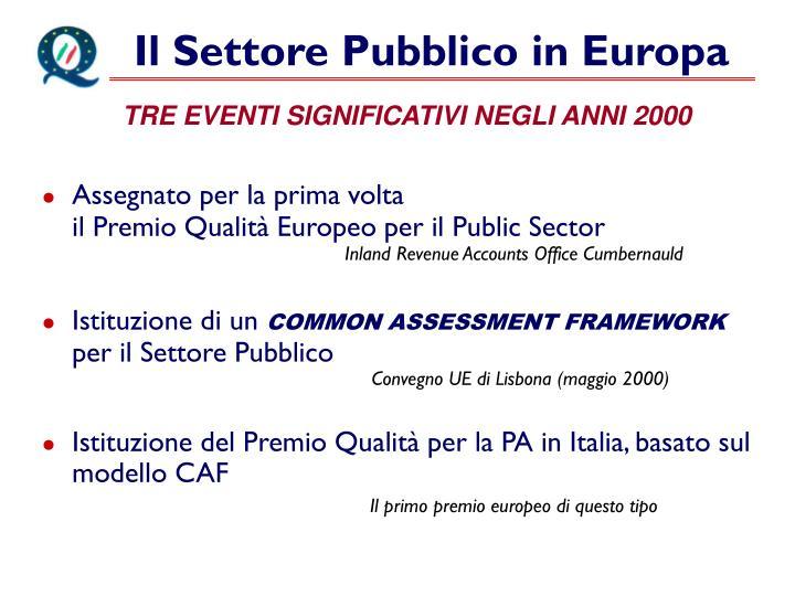 Il Settore Pubblico in Europa