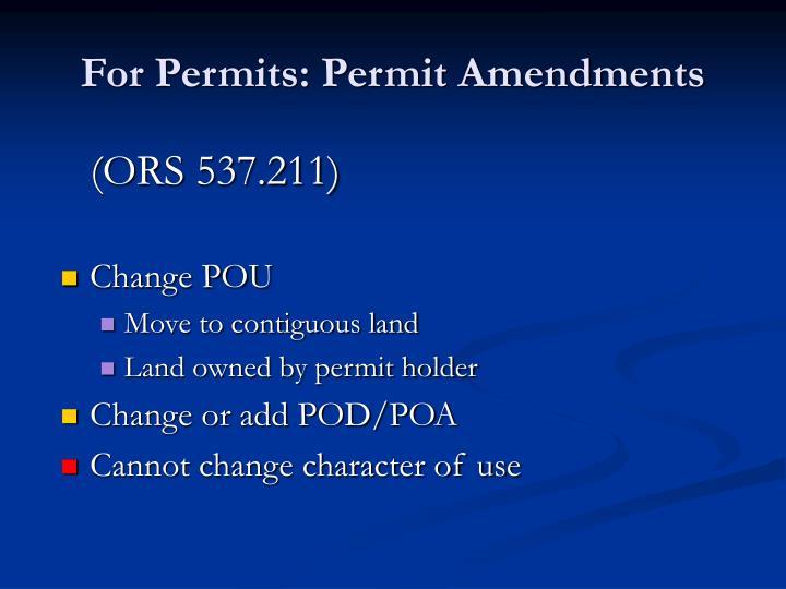 For Permits: Permit Amendments