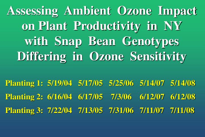 Assessing  Ambient  Ozone  Impact  on Plant  Productivity  in  NY