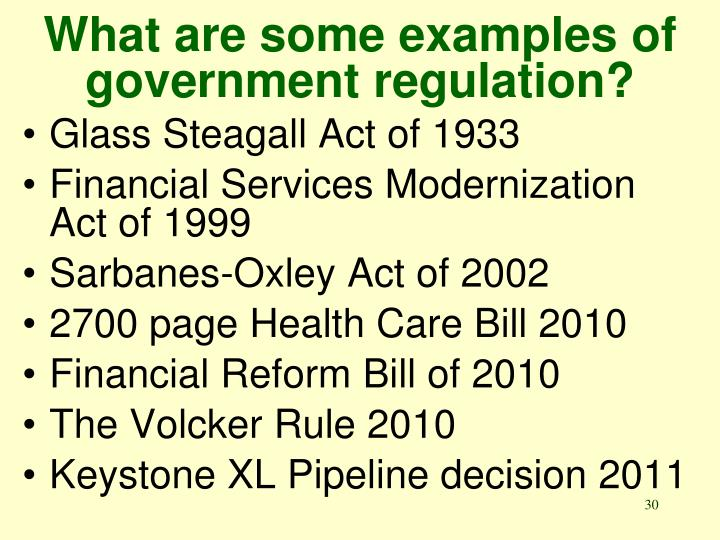 What are some examples of government regulation?