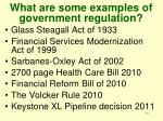 what are some examples of government regulation