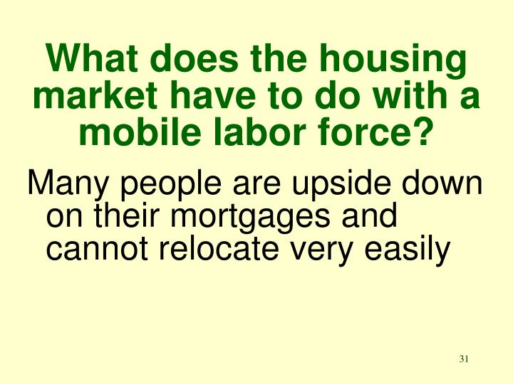 What does the housing market have to do with a mobile labor force?