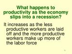 what happens to productivity as the economy slips into a recession