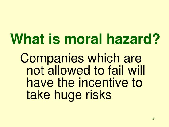 What is moral hazard?