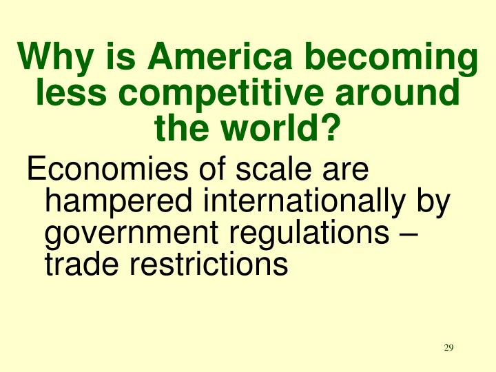 Why is America becoming less competitive around the world?